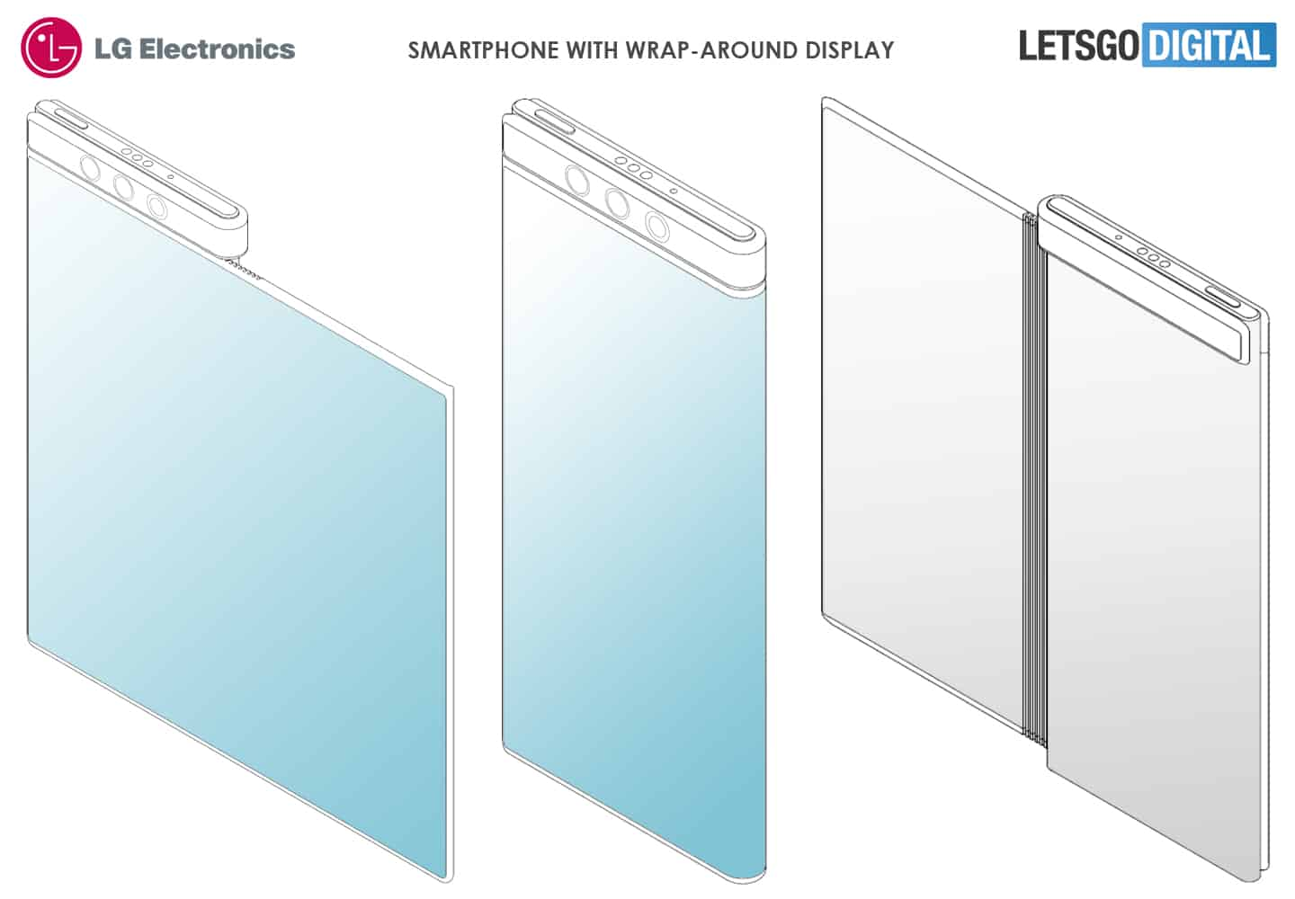 LG smartphone with flexible wrap around display patent 1