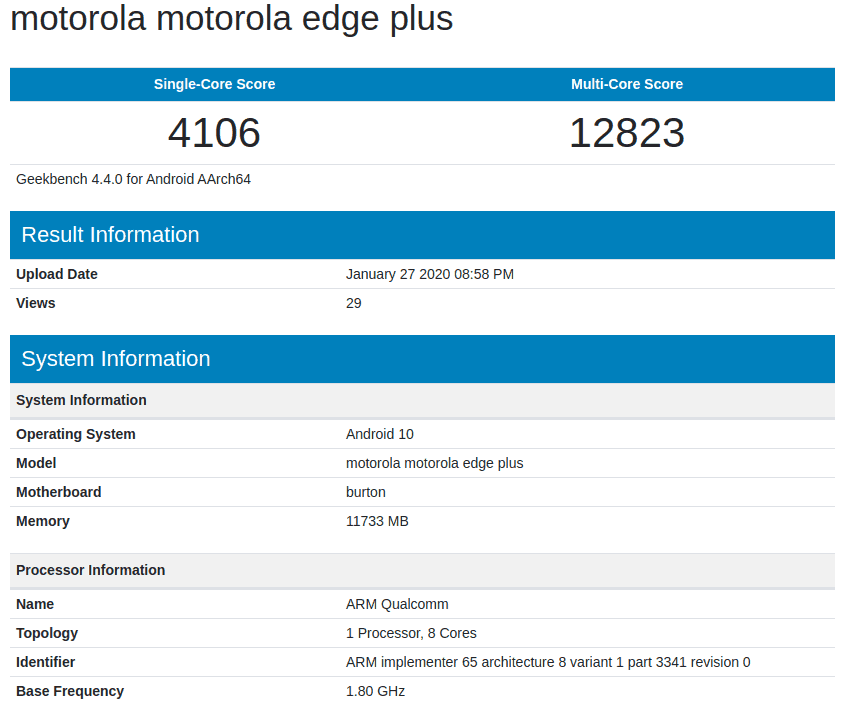 Motorola Edge Plus Geekbench