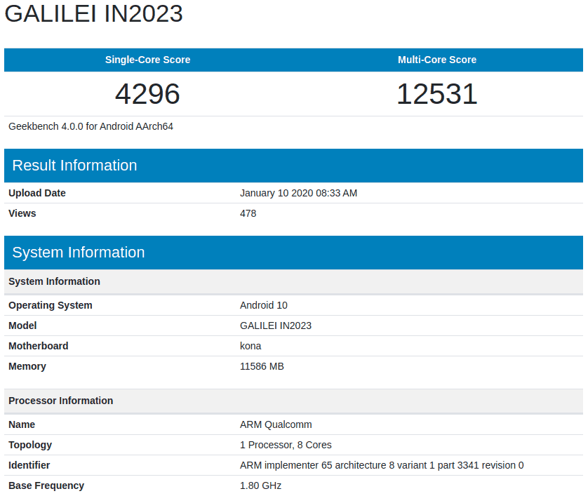 OnePlus 8 Pro Geekbench image 1