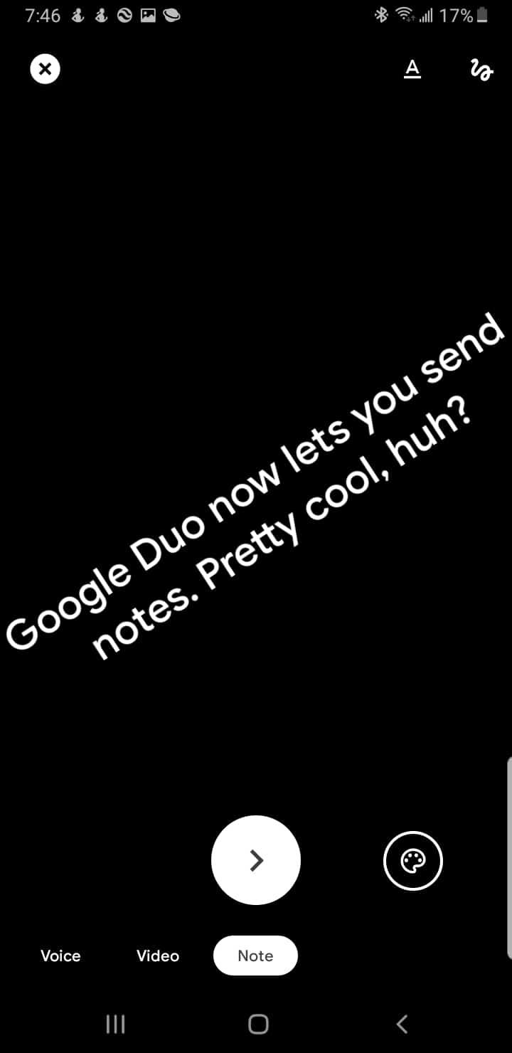 Google Duo send note dark mode