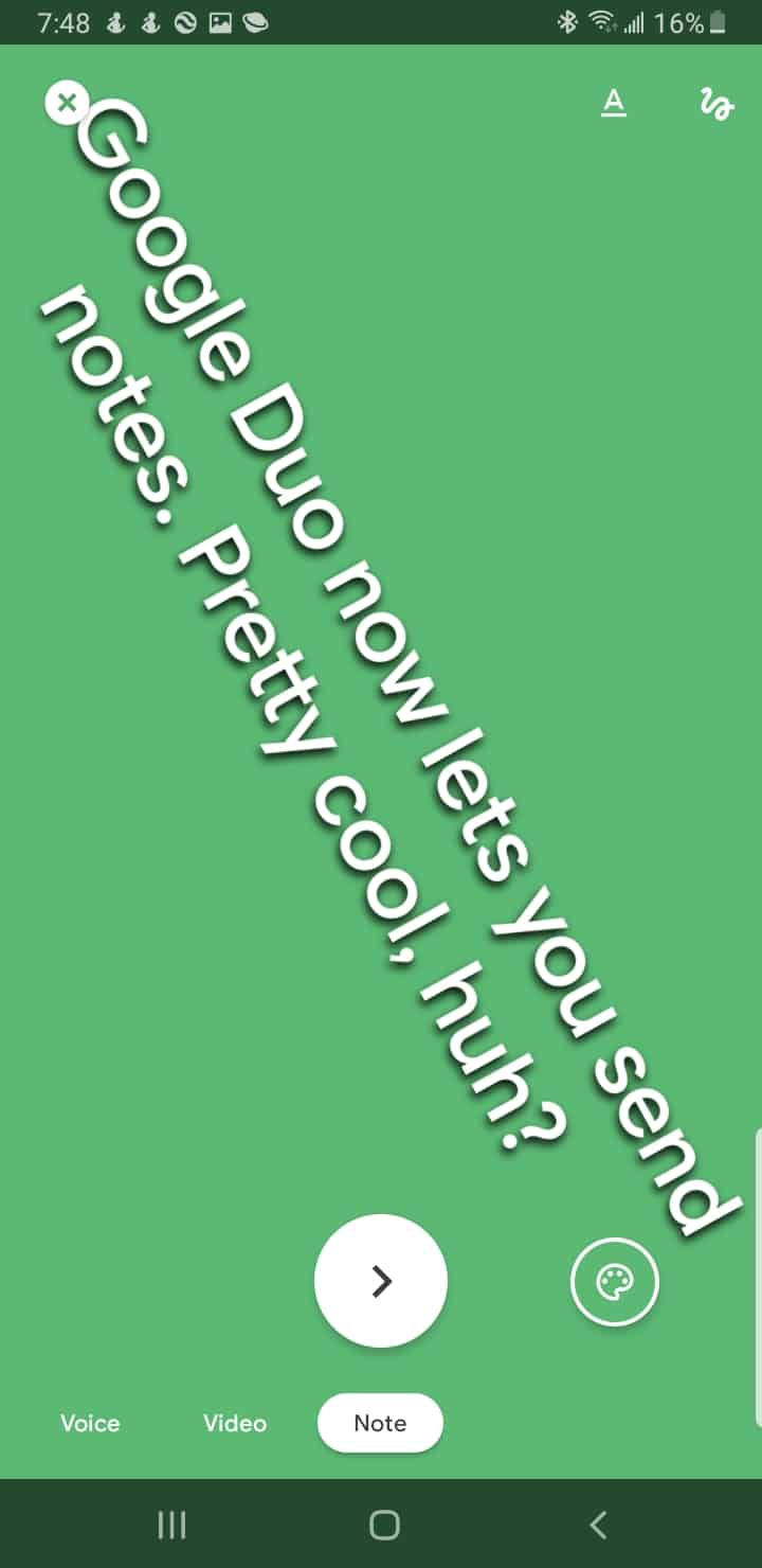 Google Duo send note green