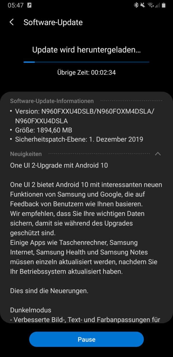 galaxy note 9 android 10