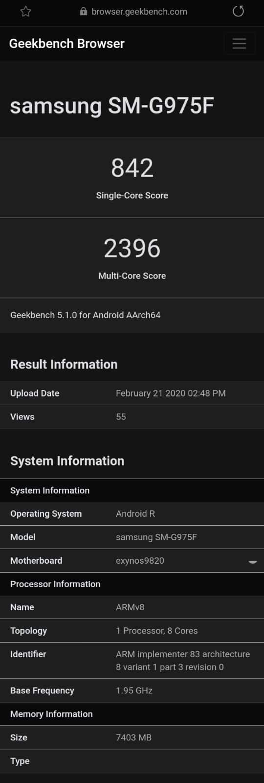 Android 11 Galaxy S10 Geekbench Samsung
