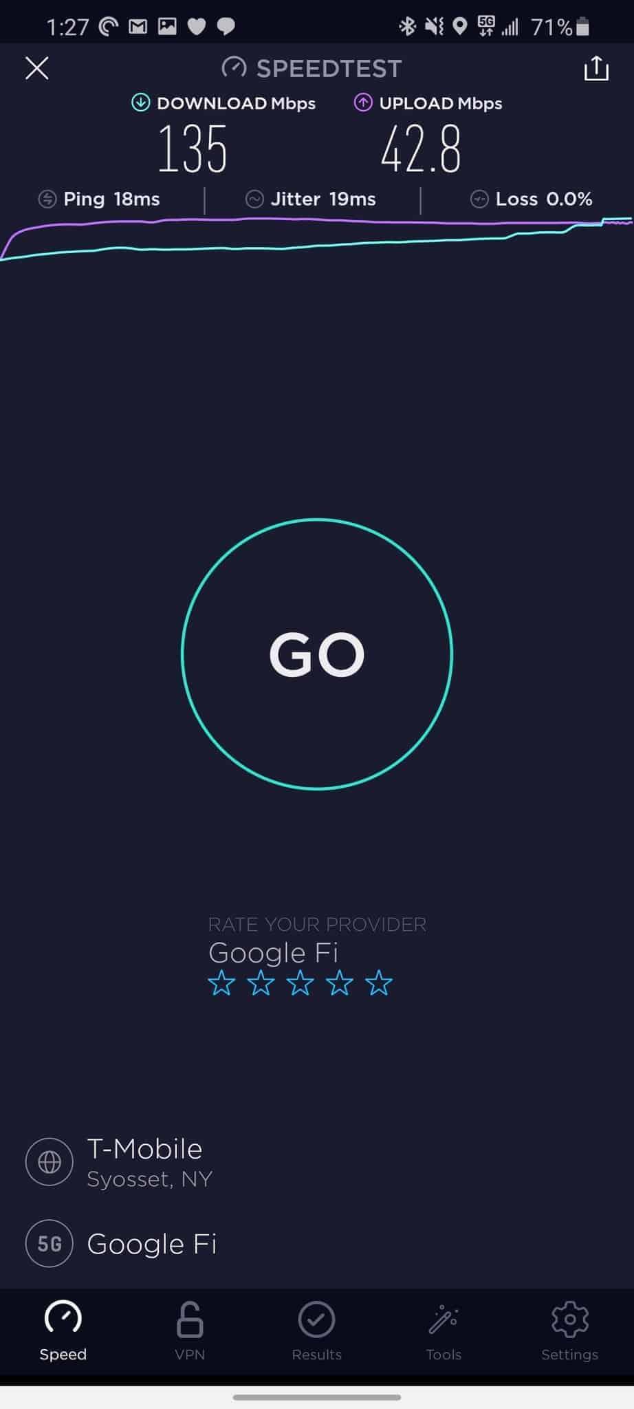 Google Fi T-Mobile 5G speed test 1