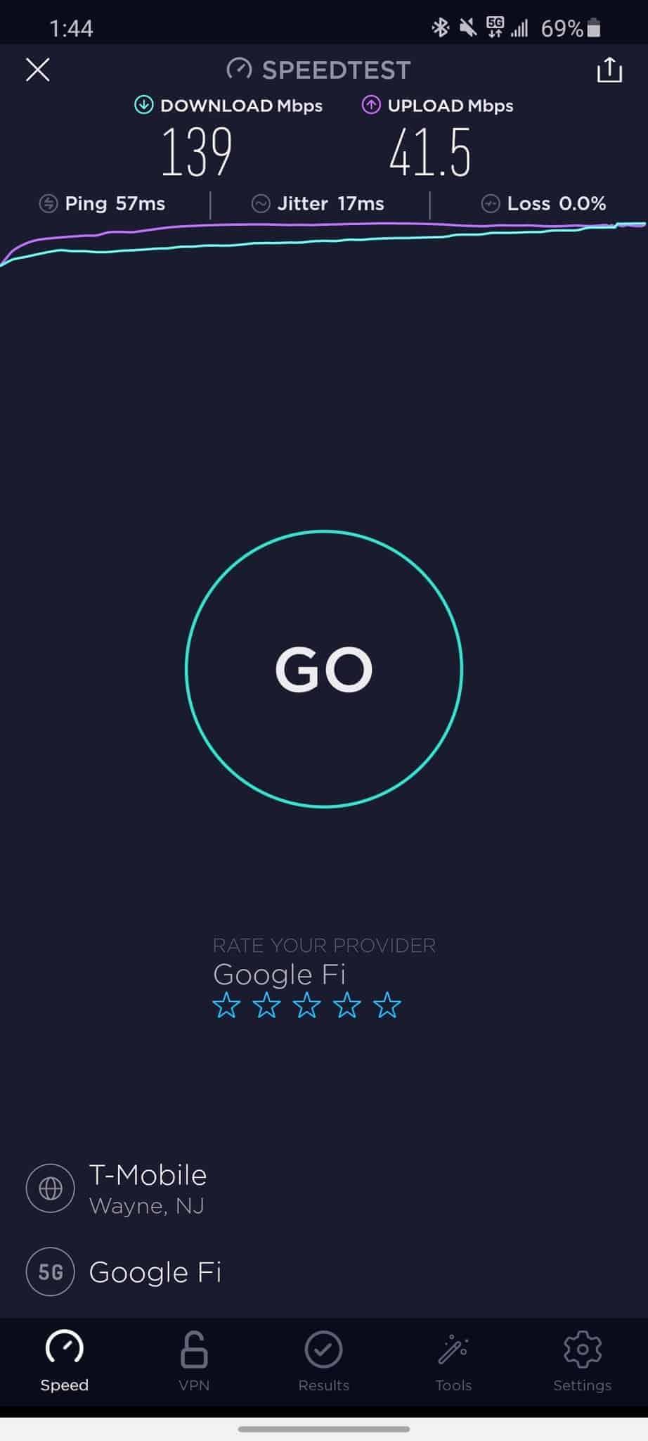 Google Fi T-Mobile 5G speed test 2