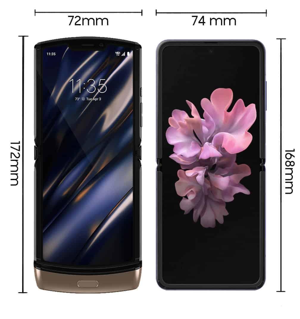 Motorola Razr and Galaxy Z Flip size comparison pre launch 1