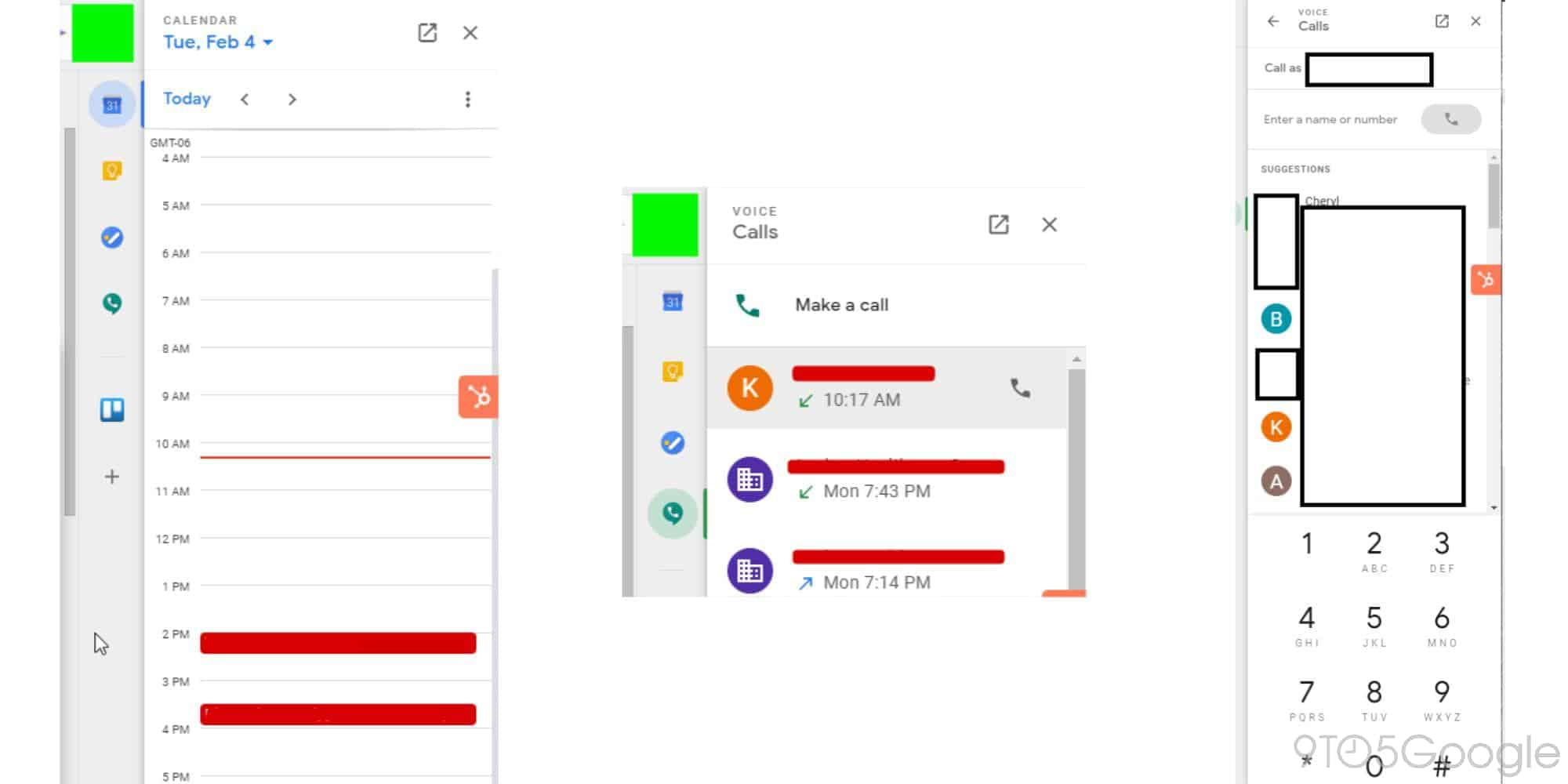 google voice gmail side panel final from 9to5Google