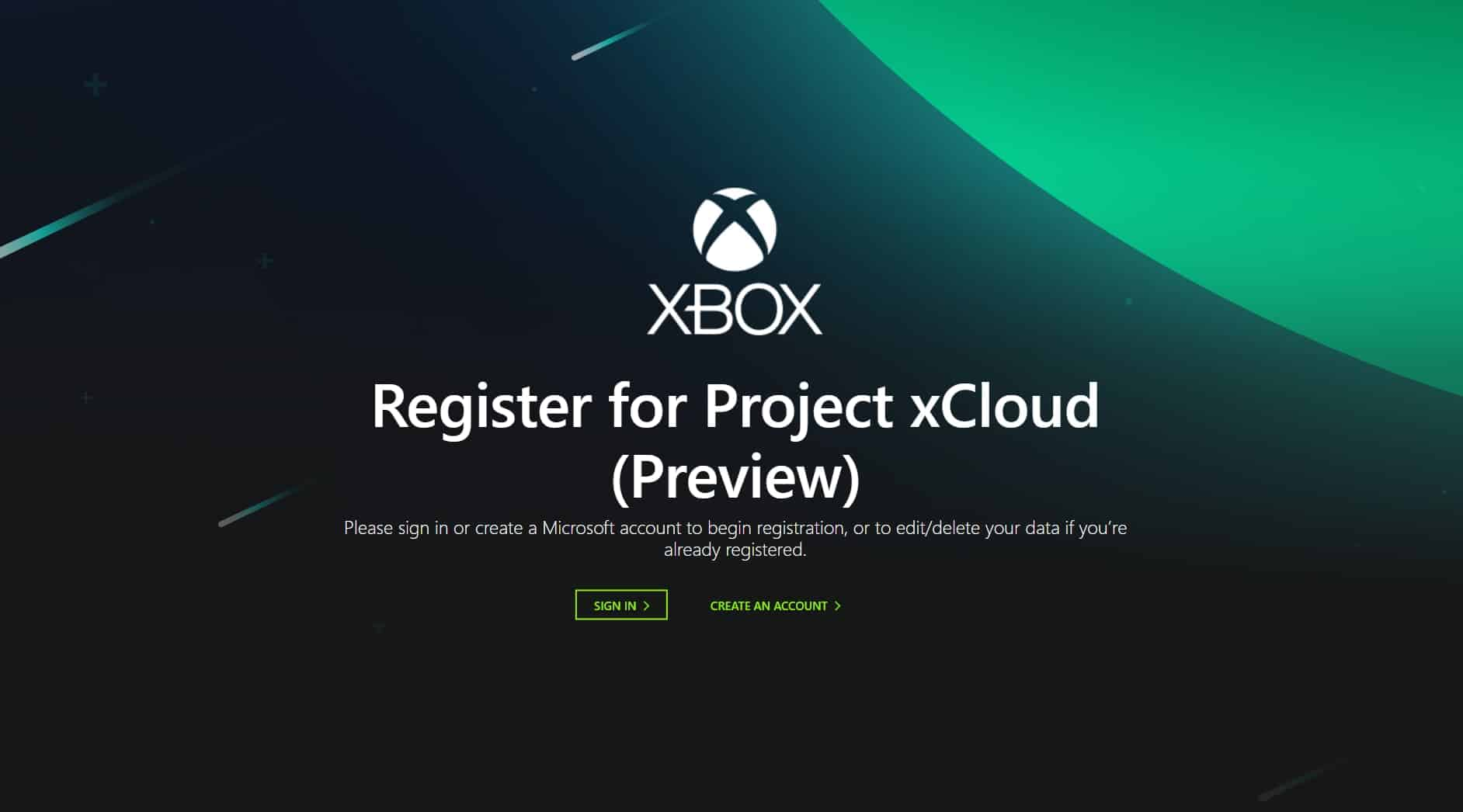 xCloud Registration Page