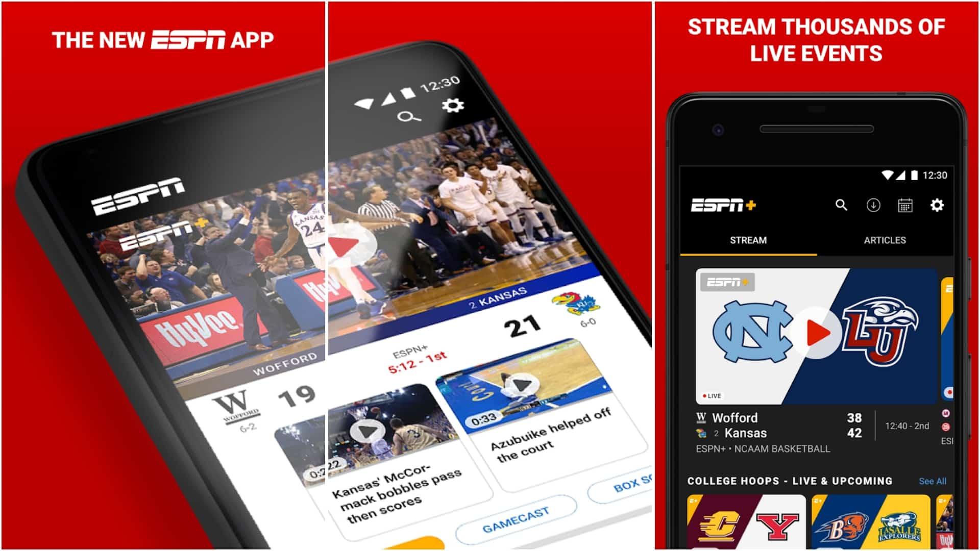 ESPN app image March 2020