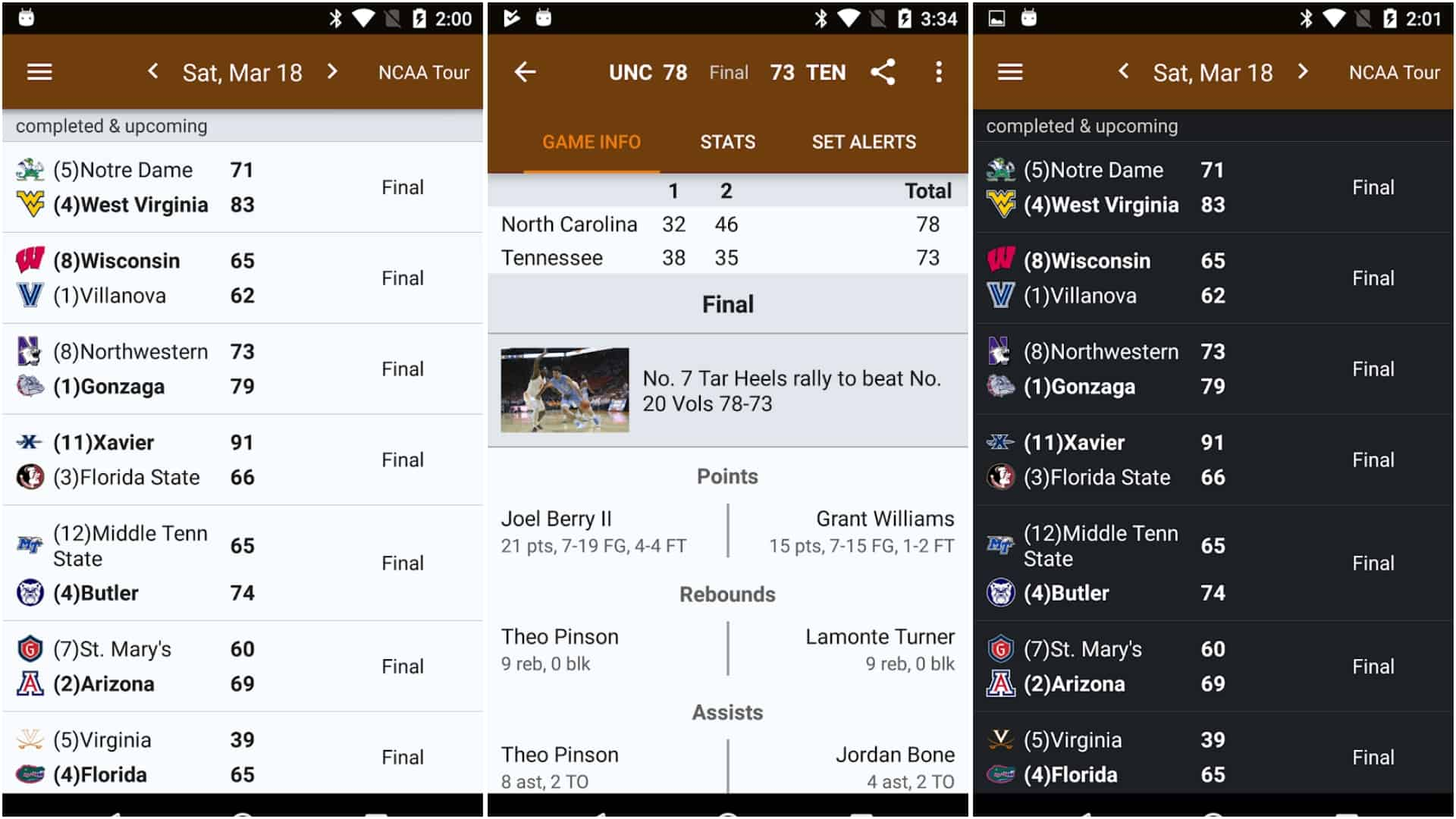 Sports Alerts NCAA Basketball Edition app image March 2020