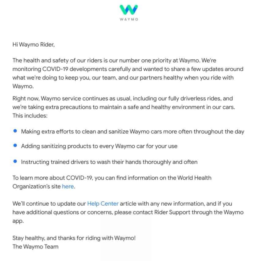 Waymo Coronavirus COVID 19 Rider Announcement