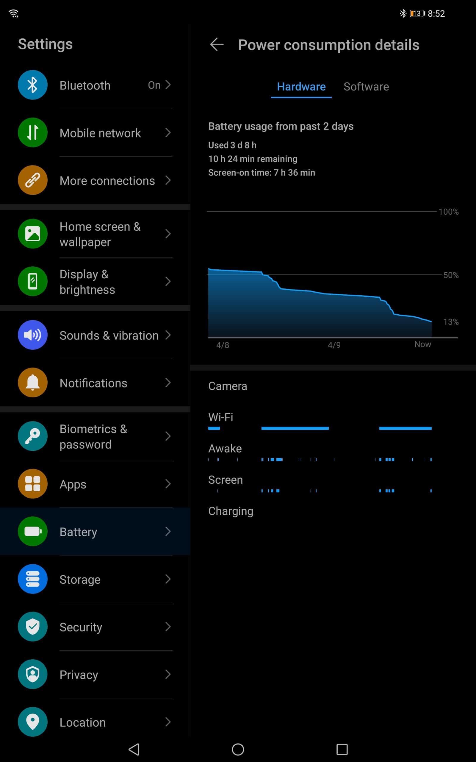 AH Huawei MatePad Pro battery stats 3