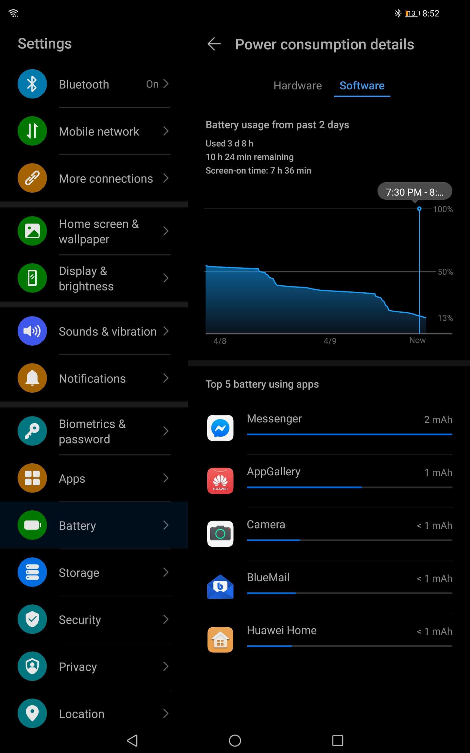 AH Huawei MatePad Pro battery stats 4