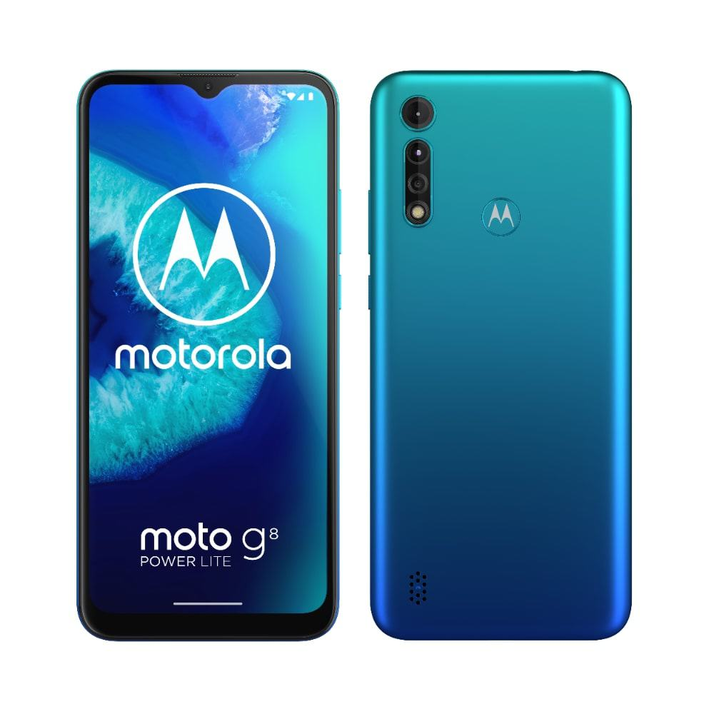 Moto G8 Power Lite Arctic Blue Side by Side