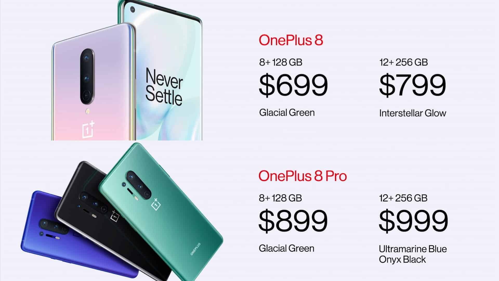 OnePlus 8 and 8 Pro pricing