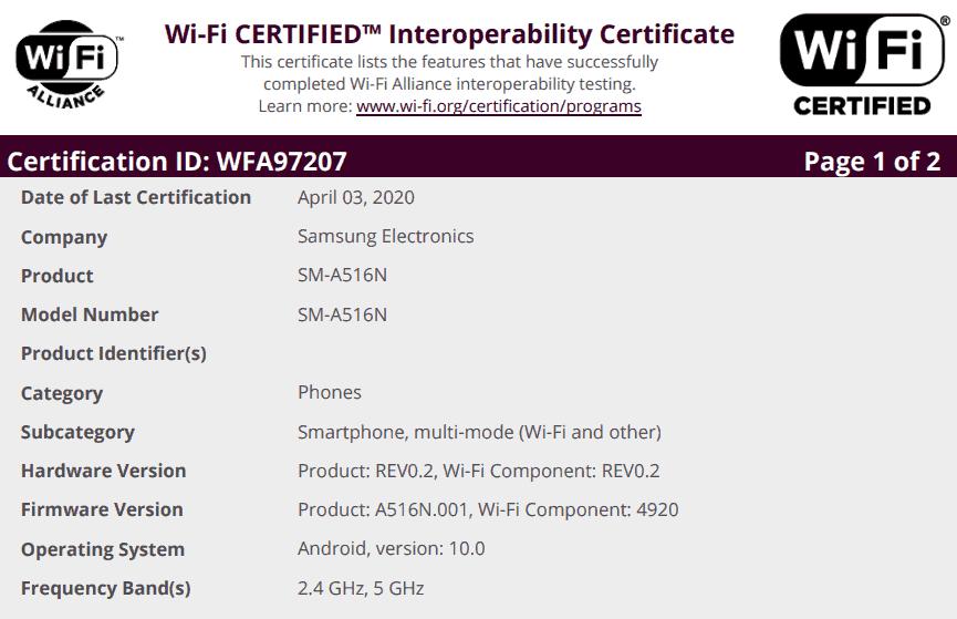 samsung galaxy a51 5g wi fi certification