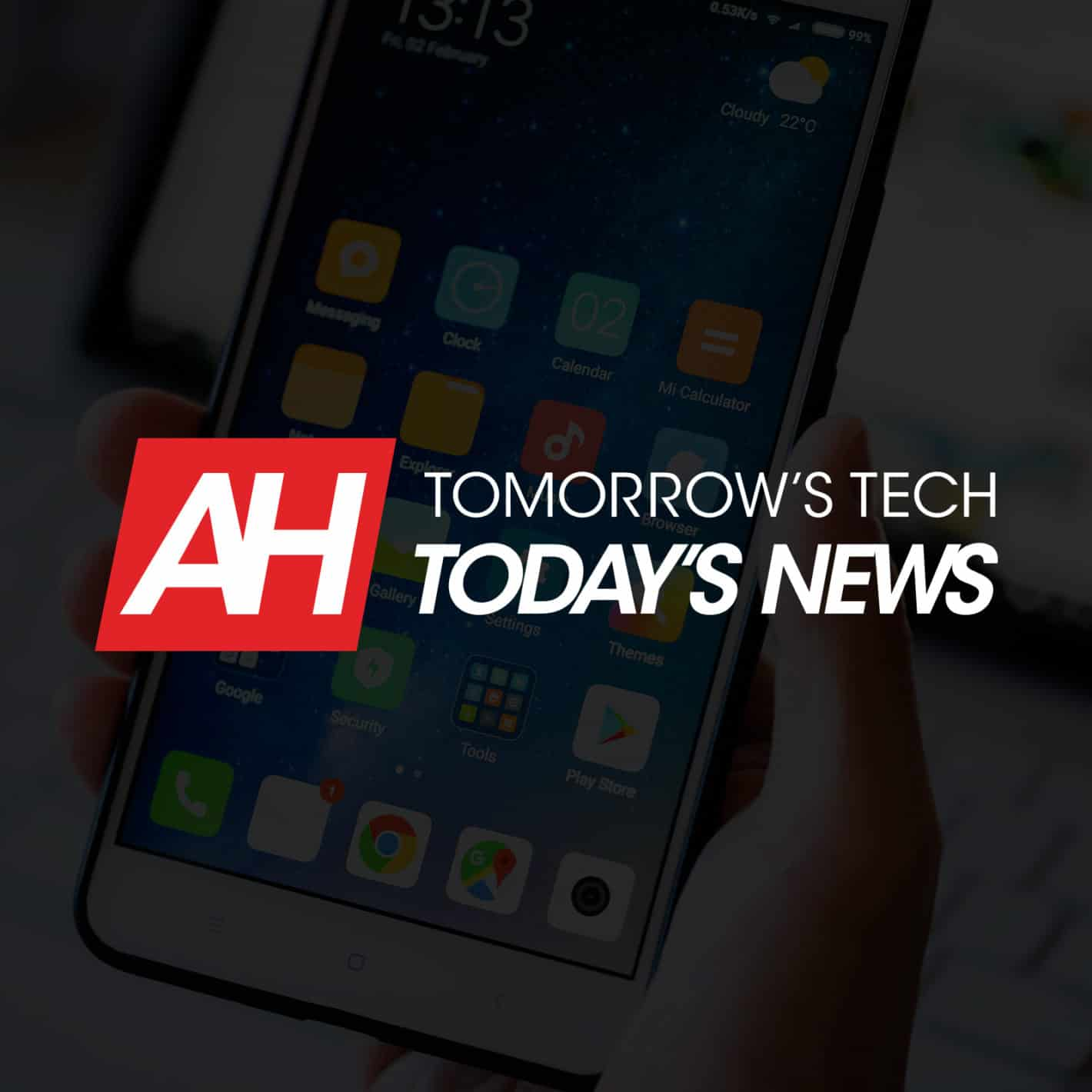 Hand holding phone with Android Headlines logo Tomorrow's Tech, Today's News