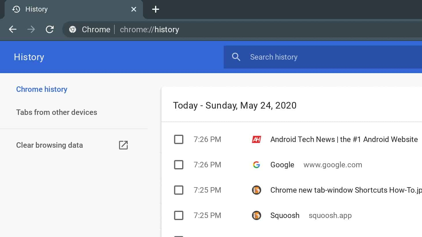 Chrome history Shortcuts How To