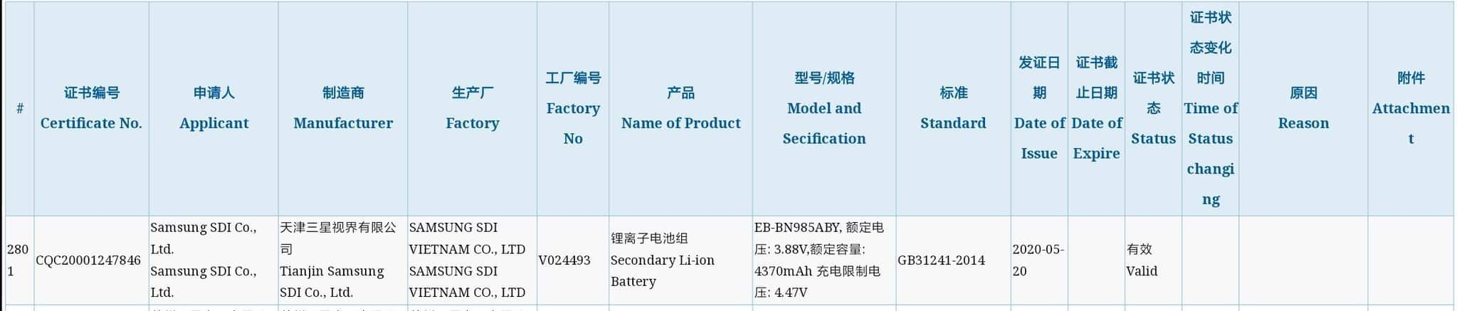 Galaxy Note 20 Plus battery capacity certification