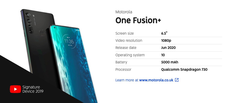 Motorola One Fusion Plus Youtube Device Report