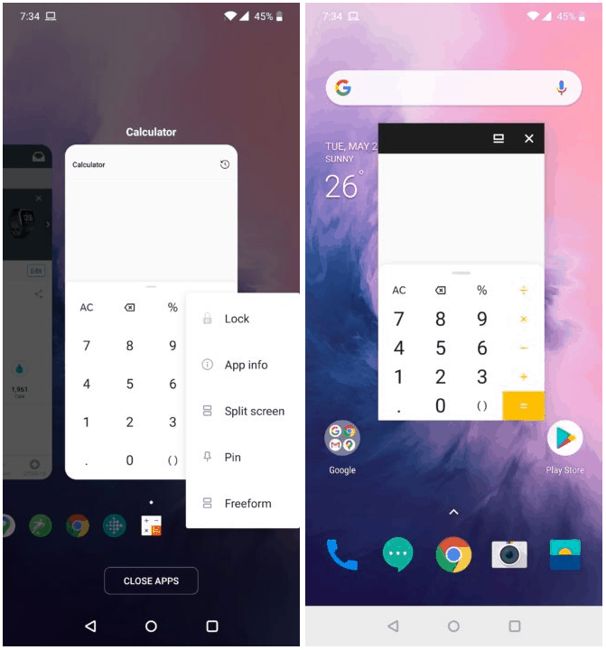 OnePlus Launcher Freeform Windows Android Police image