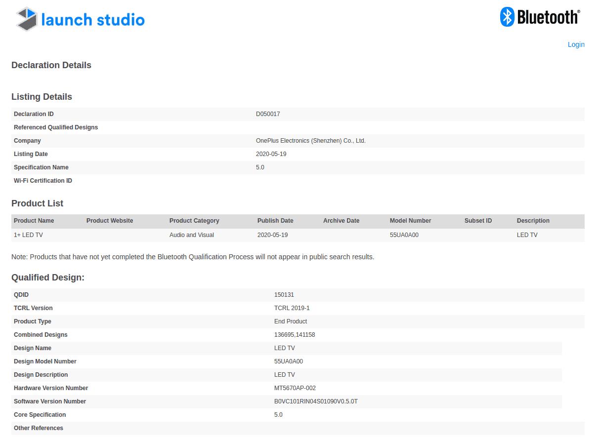 OnePlus TV 55 inch certification
