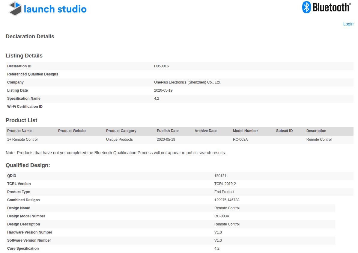 OnePlus TV remote certification
