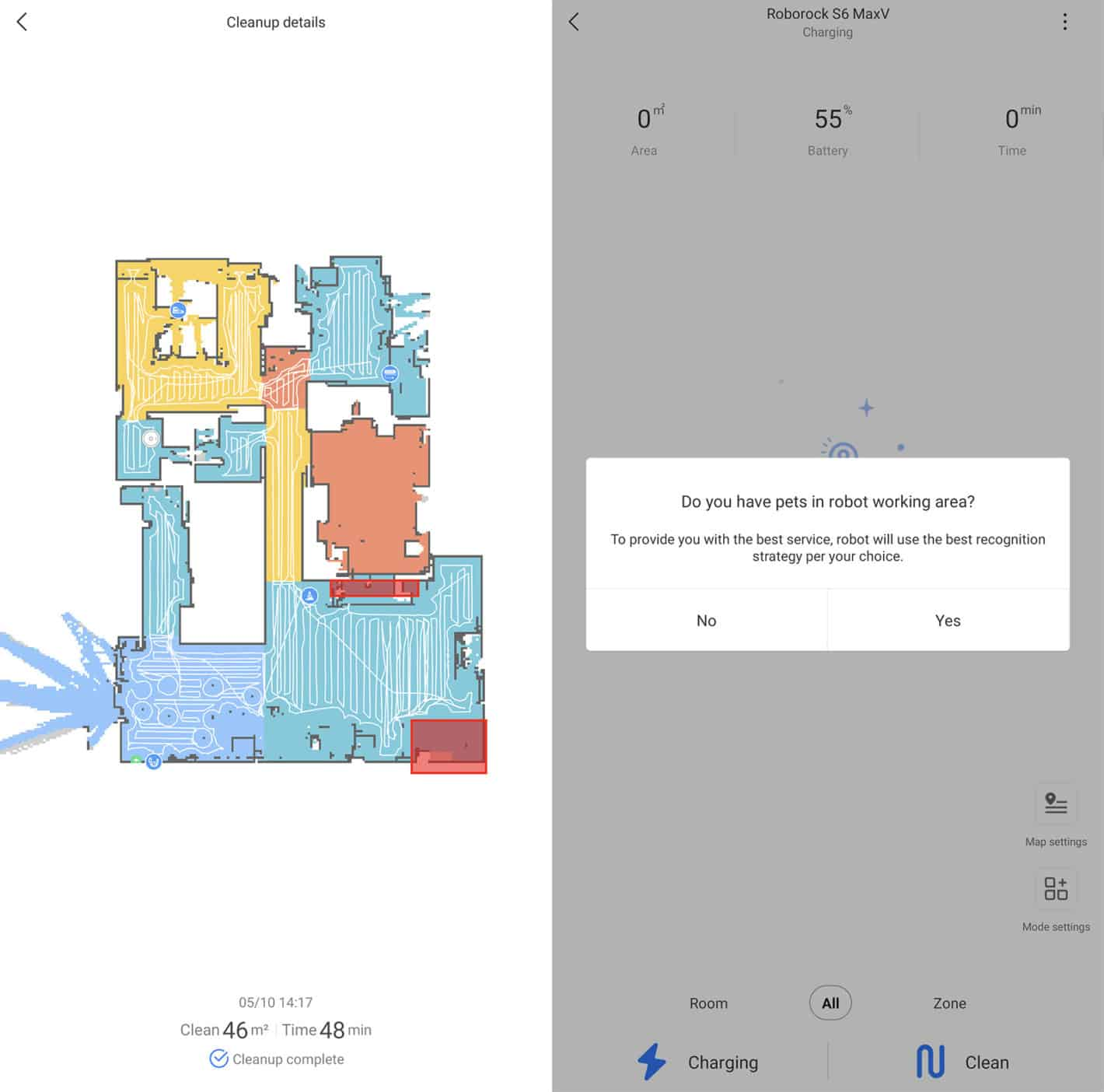 Roborock S6 MaxV app floorplan with obstacles