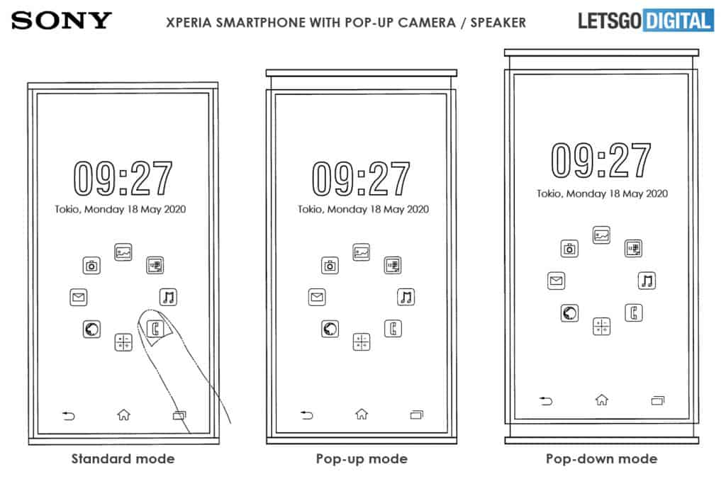 sony xperia smartphone pop up pop down