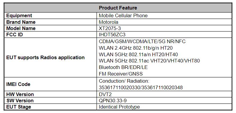 Motorola Edge Lite FCC XT2075 3