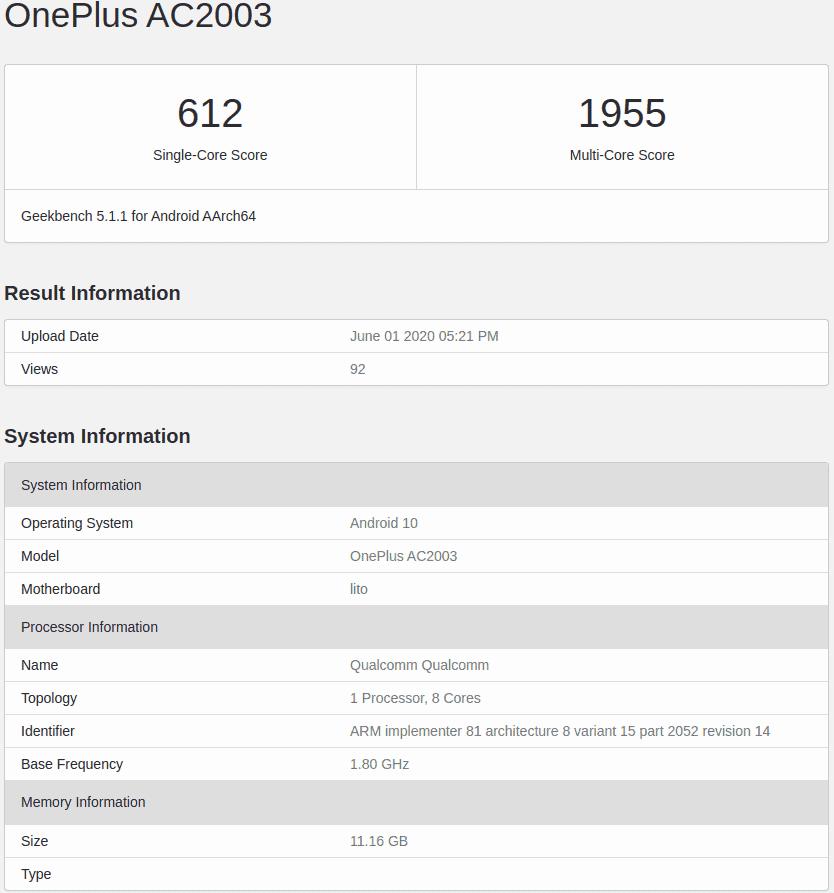OnePlus Z Geekbench 1