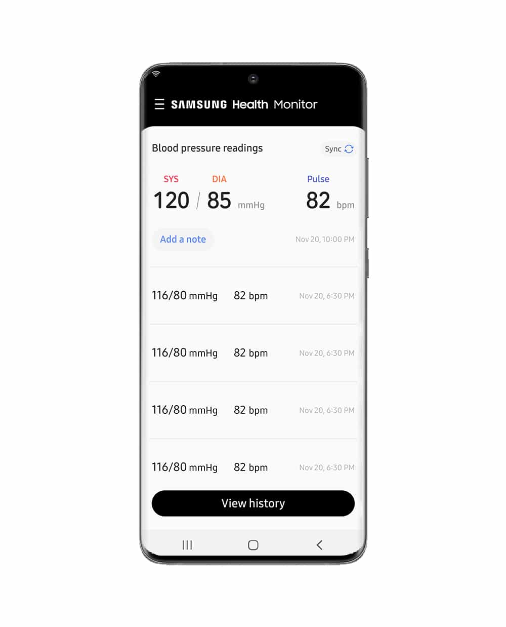Samsung Health Monitor app with Blood Pressure tracker image 1