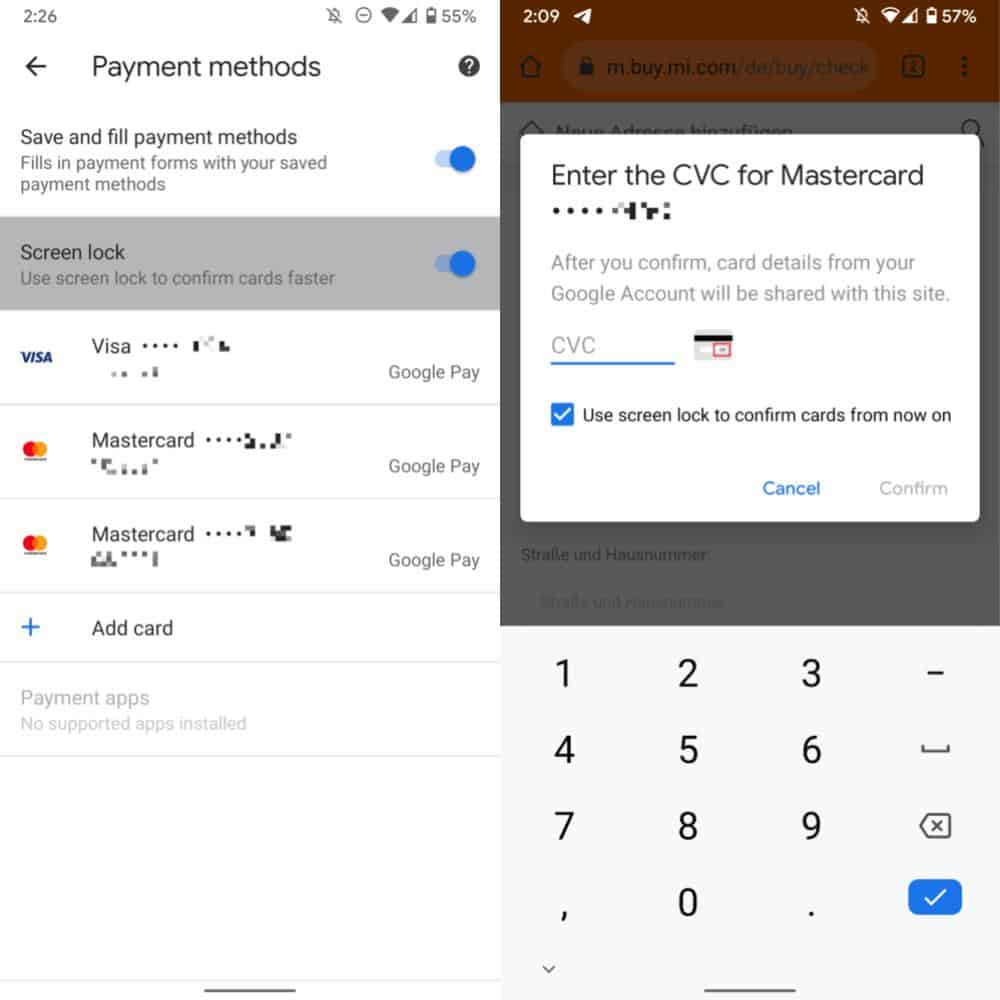 Chrome Payment autofill authentication biometrics screen lock from Android Police