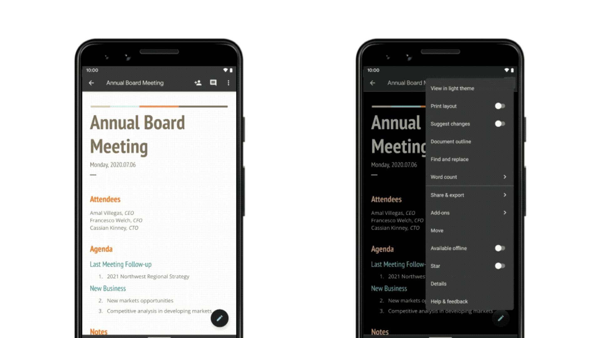 G Suite Docs Sheets Slides Dark Mode Android 02