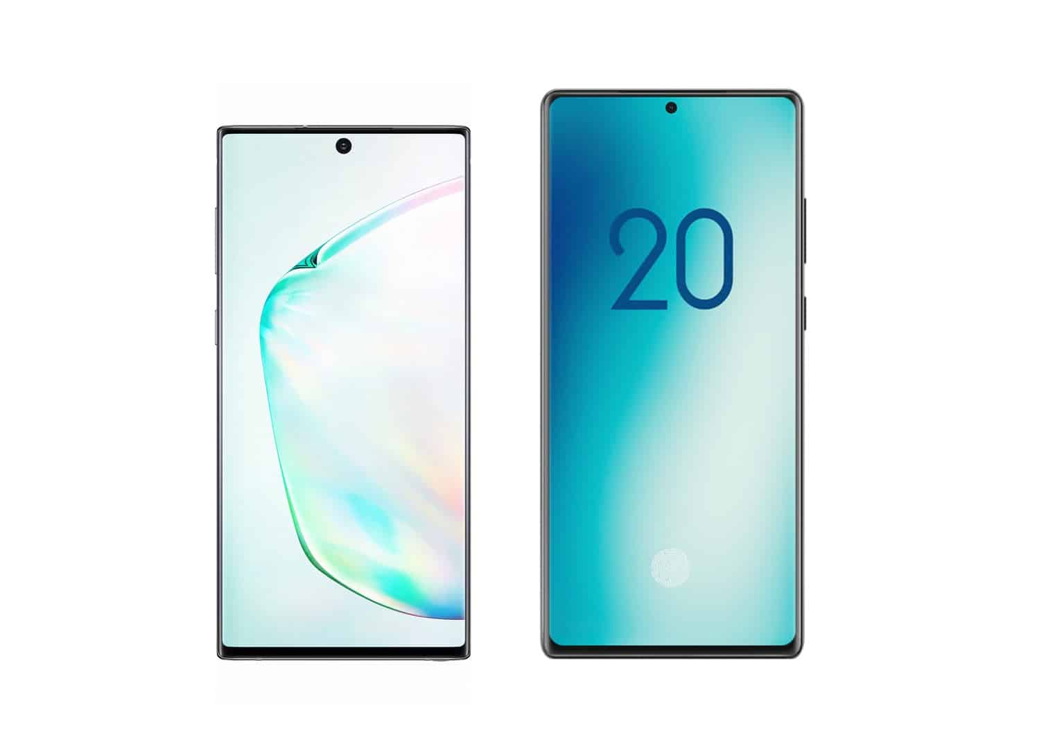 Galaxy Note 10 vs Note 20 size comparison pre launch 2