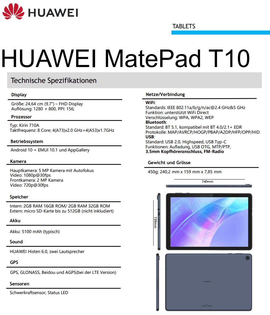 Huawei MatePad T10 leak