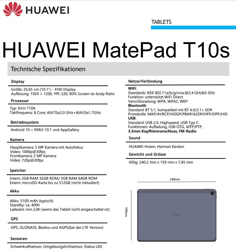 Huawei MatePad T10s leak