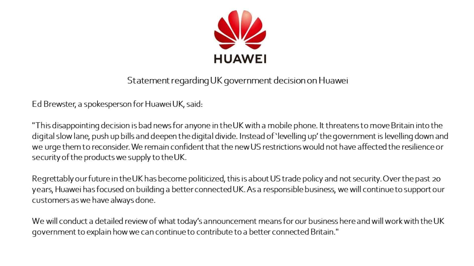 Huawei Statement UK Ban from Twitter