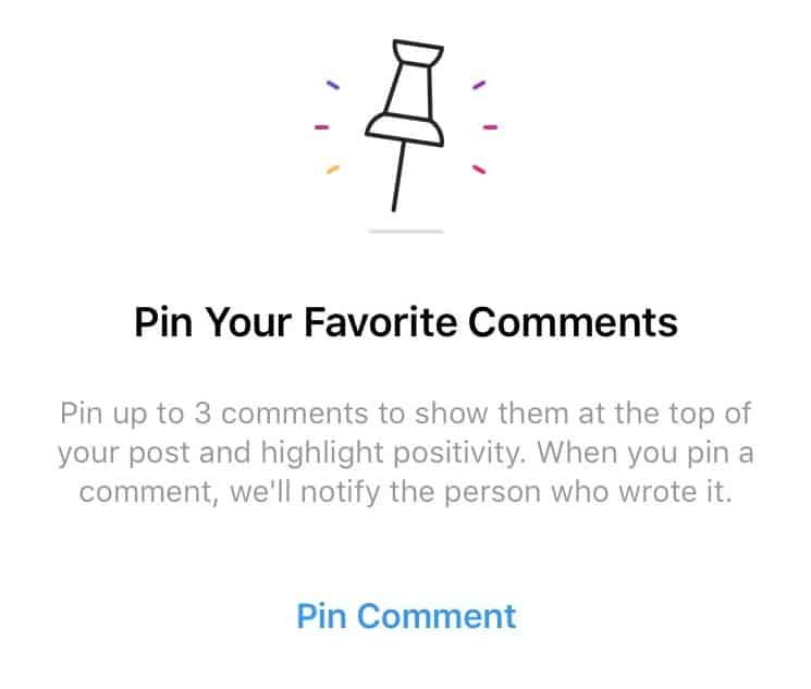 Instagram pinned comments 2