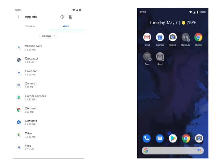 android 11 personal and work tab