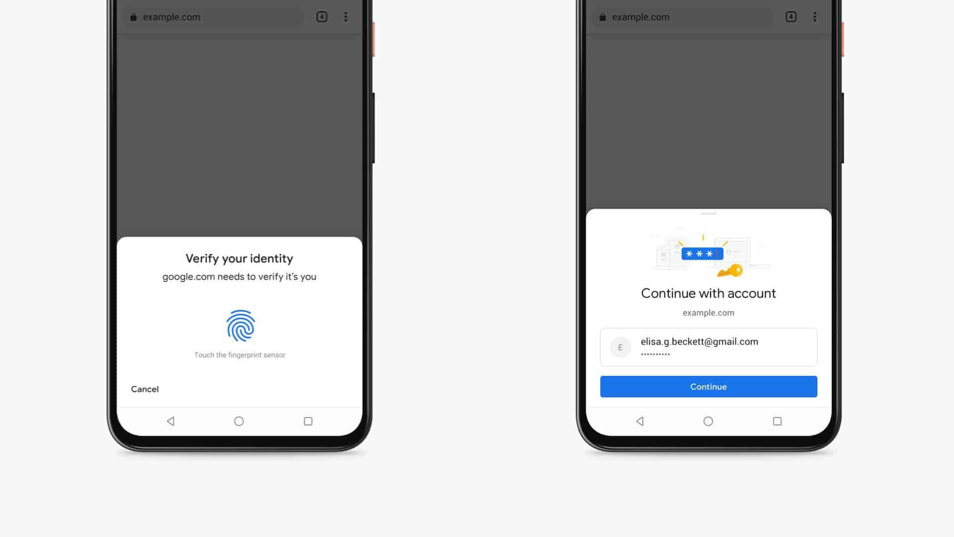 biometric authentication tap to fill autofill chrome android pressers