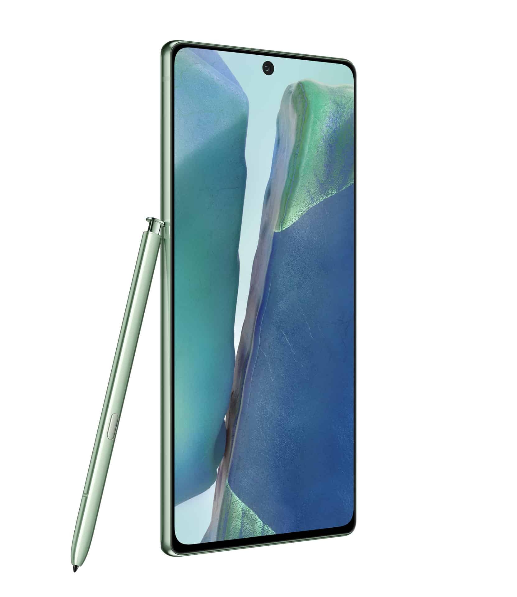 Galaxy Note20 Mystic Green Front Left with S Pen