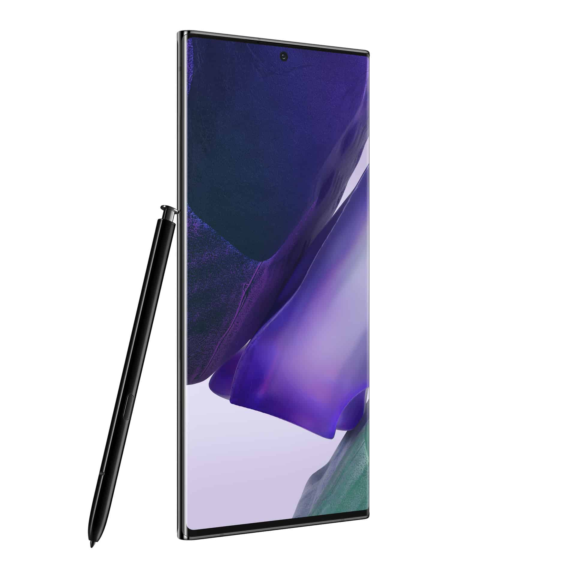 Galaxy Note20 Ultra Mystic Black Front Left with S Pen
