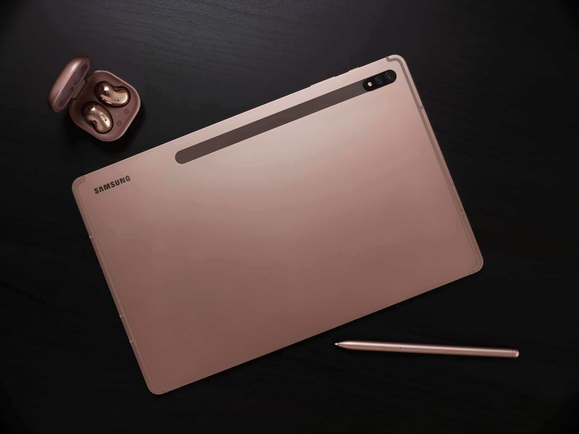 Galaxy Tab S7 and Buds Live Mystic Bronze Lifestyle 1