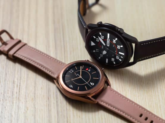 Galaxy Watch3 Mystic Bronze and Black Close Up Lifestyle