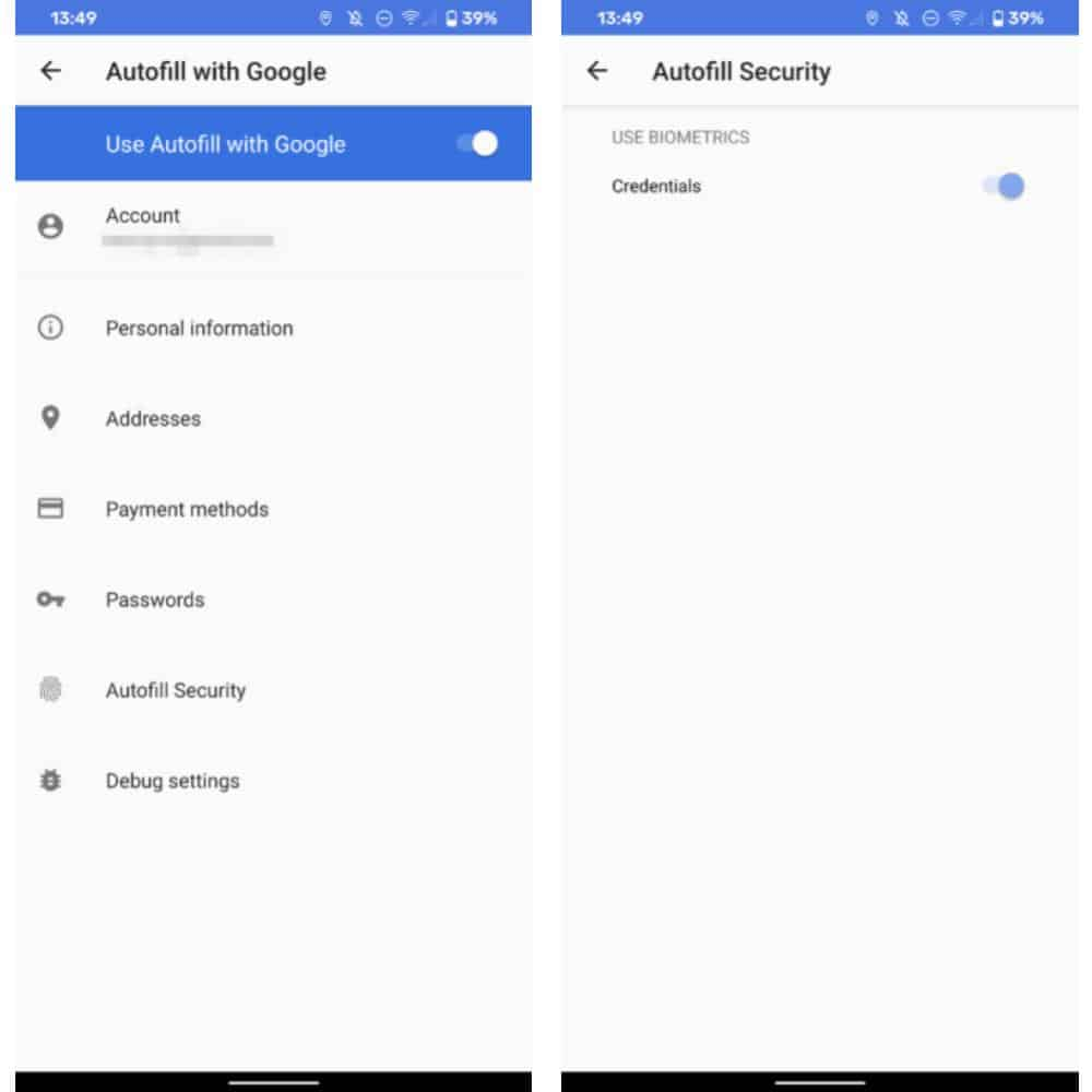 Google Autofill fingerprint settings from Android Police
