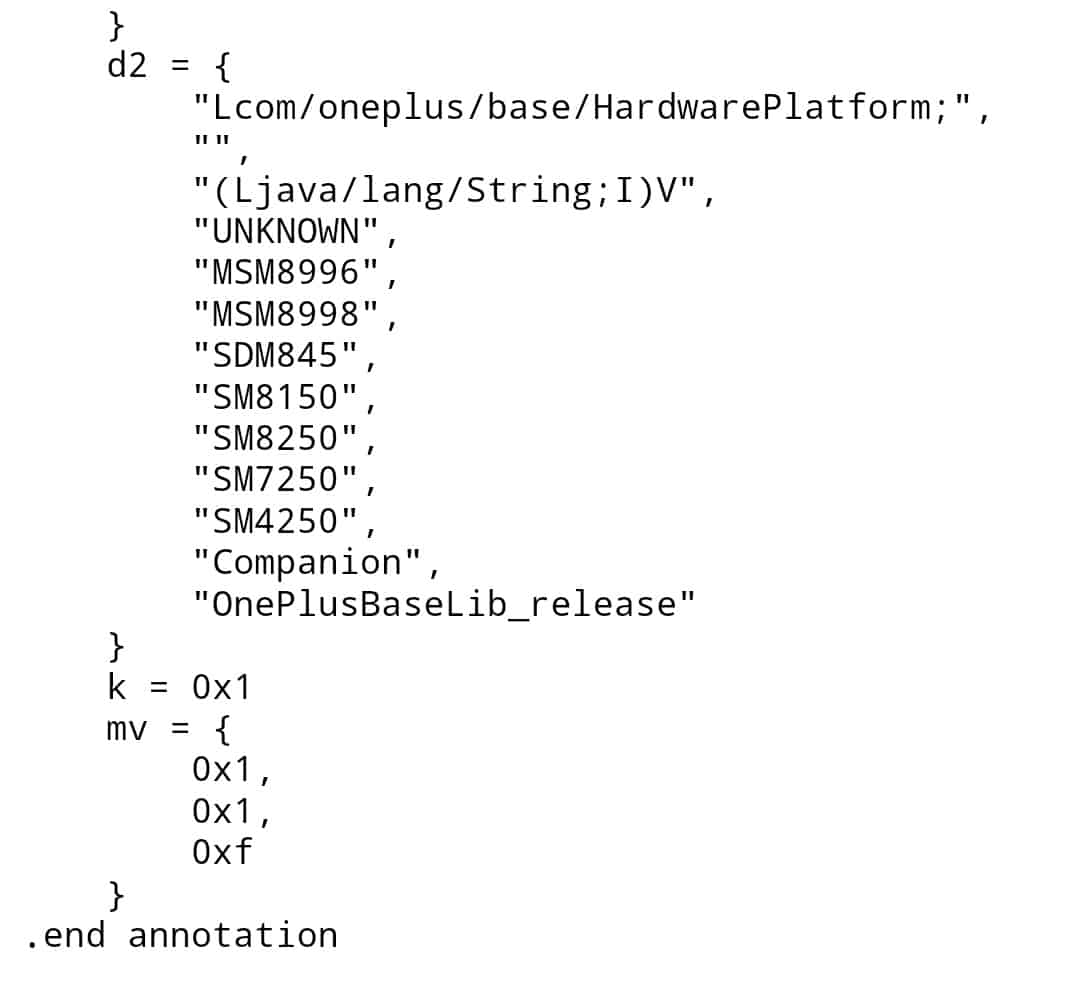 OnePlus entry level smartphone code snippet 1