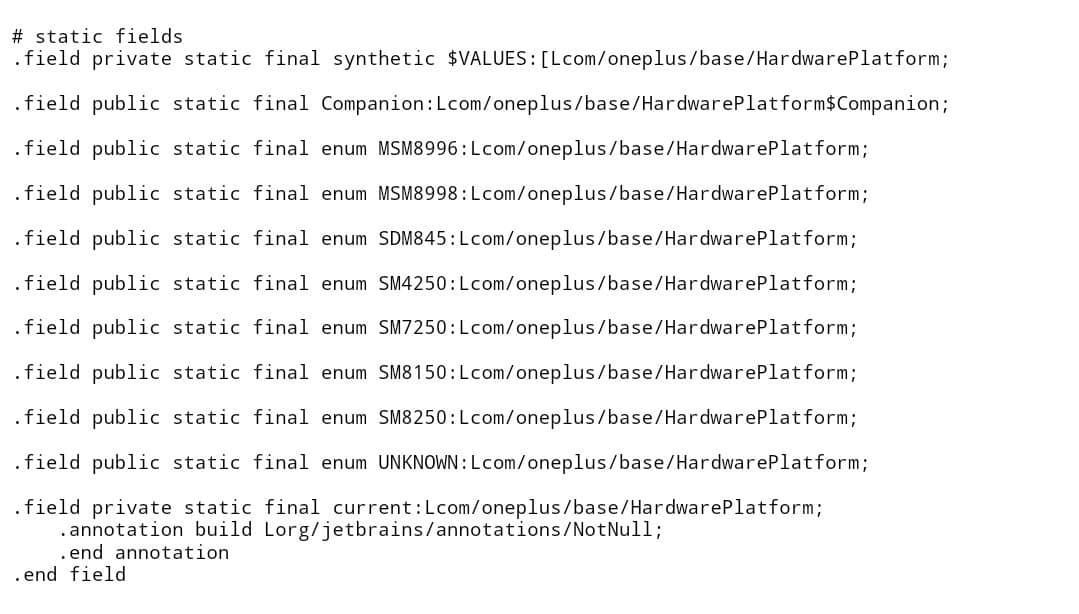 OnePlus entry level smartphone code snippet 2