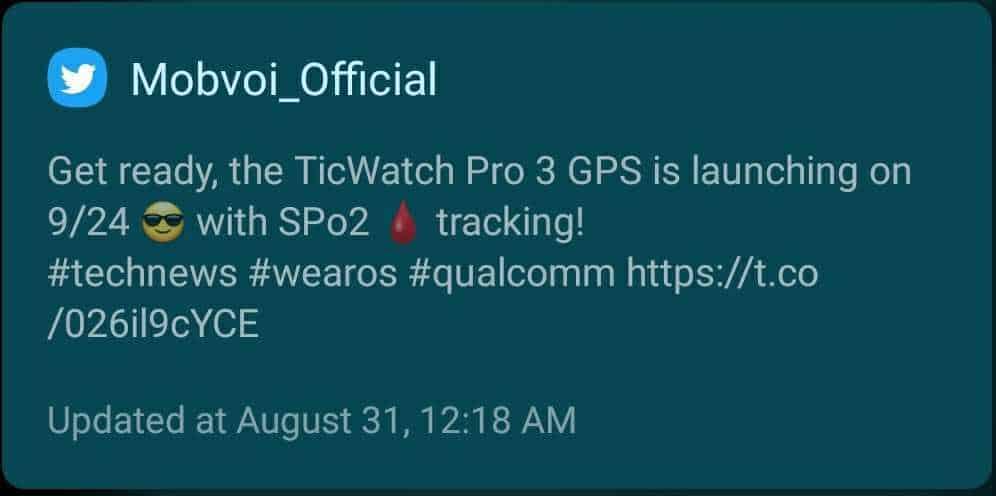 TicWatch Pro 3 GPS Release Date Leak