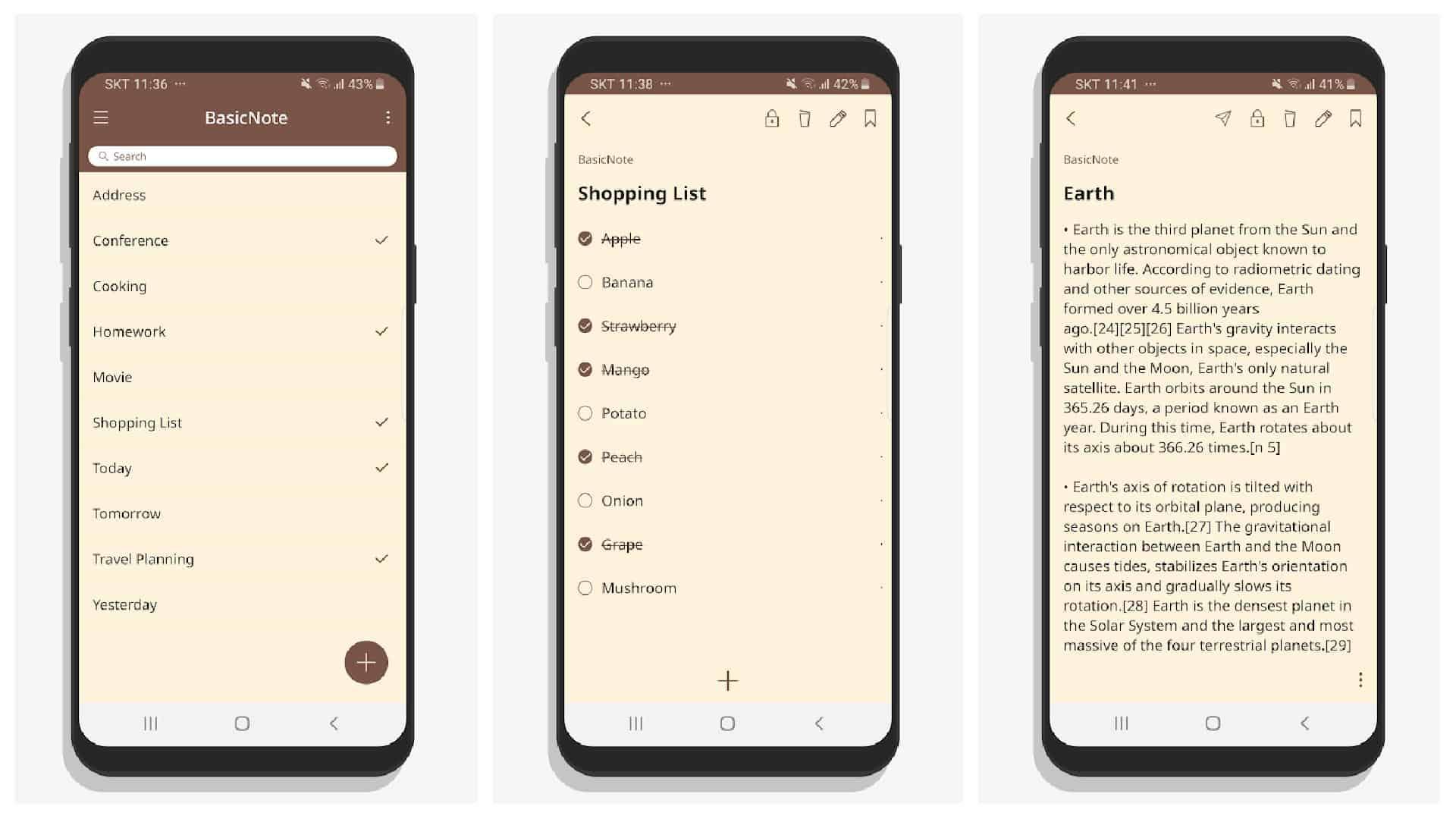 BasicNote app grid 1